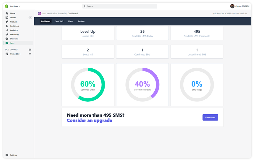 Preview SMS Verification Romania - Shopify App